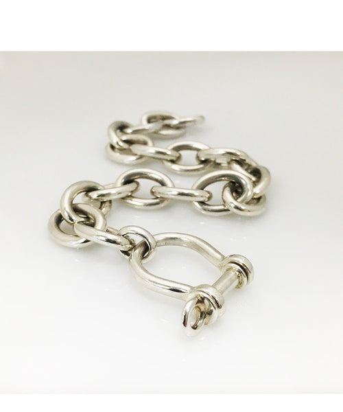 "Sterling Silver Handmade Cable Bracelet with ""D"" Shackle Closure"