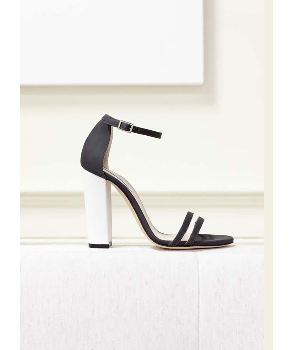 Emerson Fry Thin Strap Heel. Ivory Heel with black straps.