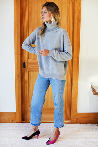 Carolyn Turtleneck Sweater Heather Grey Organic