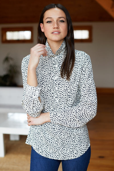 Emerson Fry Emerson Ribbons Blouse Black + White Cheetah