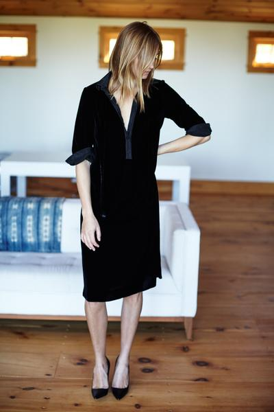 women's shirtdress in black velvet by Emerson Fry