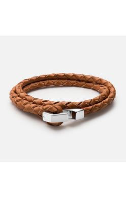 Miansai Tan Leather Ipsum Wrap Bracelet with a Sterling Hook