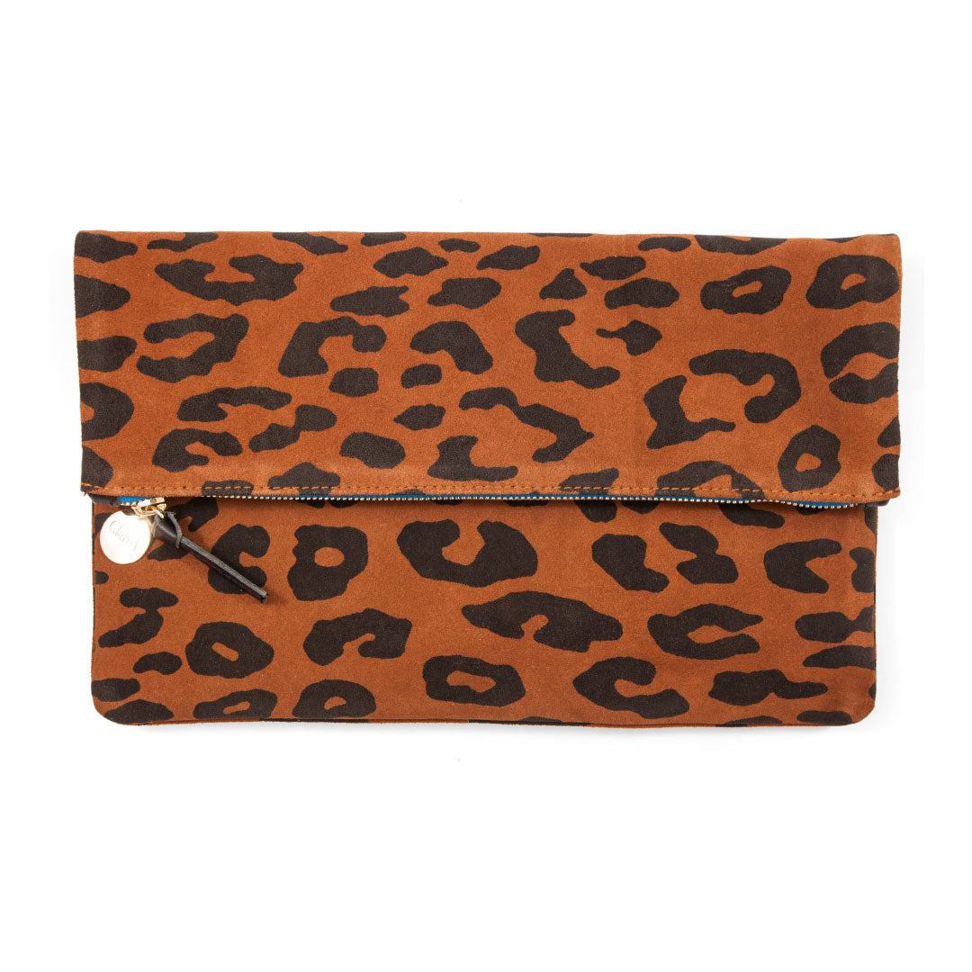 Clare V. Pablo Cat Suede Foldover Clutch