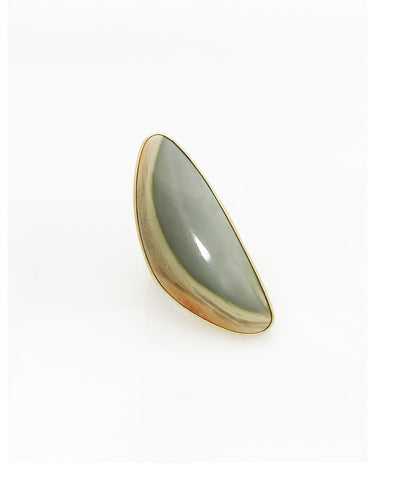 Heather Benjamin | Imperial Jasper Long Sun Bleached Green Ring