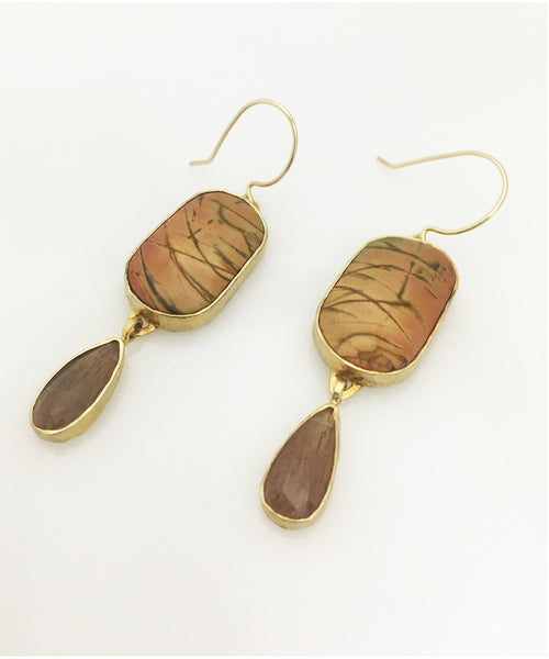 Heather Benjamin | Handmade Rutilated Quartz Drop Earrings