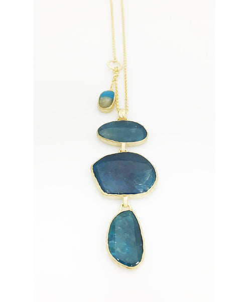 Heather Benjamin | Magical Blue Apatite Triple Drop Necklace
