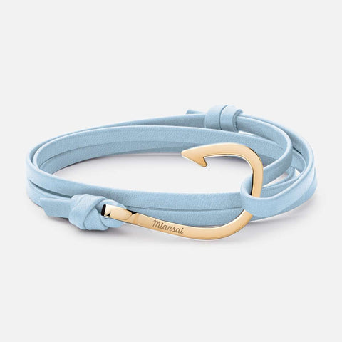 Miansai Hook on Leather Bracelet Gold Plated, Lt. Blue