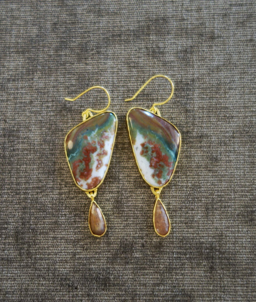 Heather Benjamin | Handmade Ocean Jasper Earring with Peach Rutilated Drop