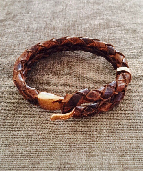 Miansai Beacon Leather Bracelet Rose Gold