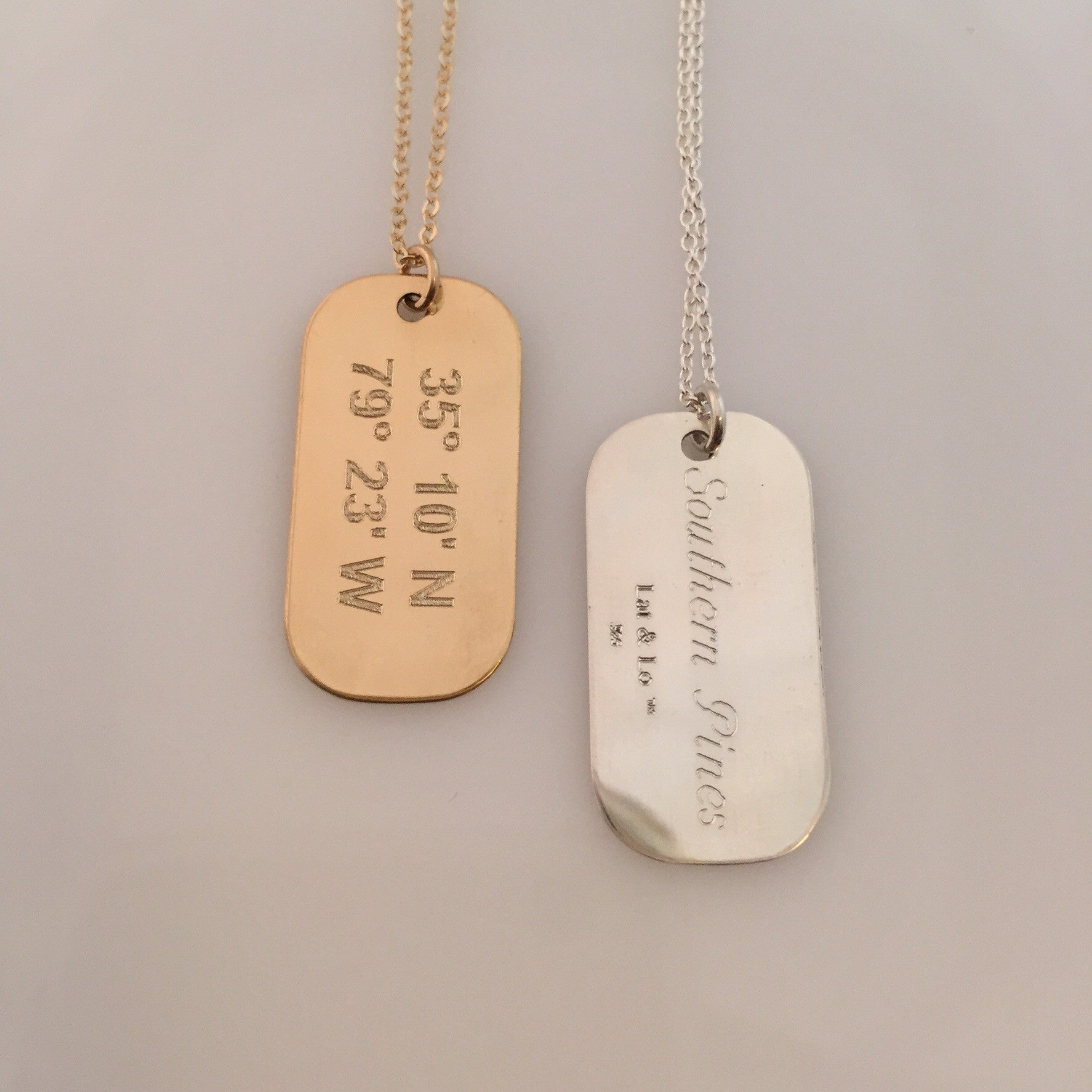 Lat & Lo | Mini Dog Tag Necklace 14k Gold Filled