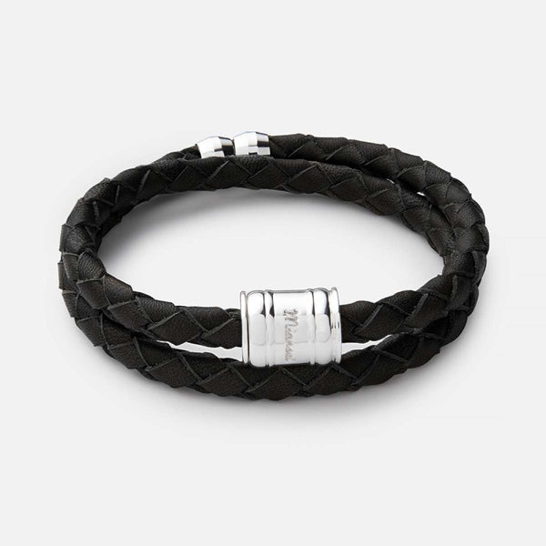 Miansai Black Braided leather Bracelet with Sterling Closure