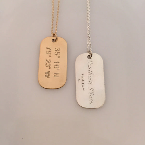Lat & Lo | Mini Dog Tag Necklace in Sterling Silver