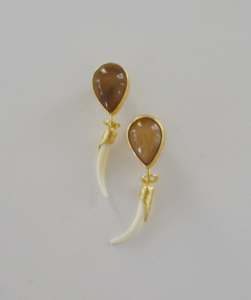 Heather Benjamin | Handmade Peach Moonstone and Carved Tusk Shape Earring