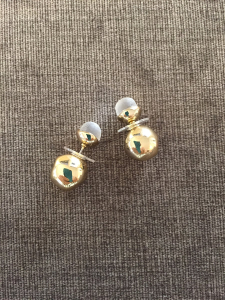 Alexis Bittar 2 Sphere Lucite and Gold Earrings