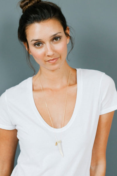 Tess + Tricia Mixed Metal Beaded  Antler Tip Necklace