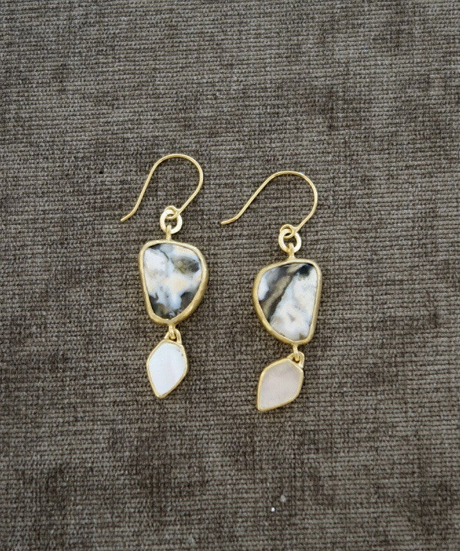 Heather Benjamin | Handmade Ocean Jasper Earring with Mother of Pearl Drop