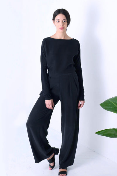 Natalie Busby Long-sleeve Silk and Jersey T-shirt in black