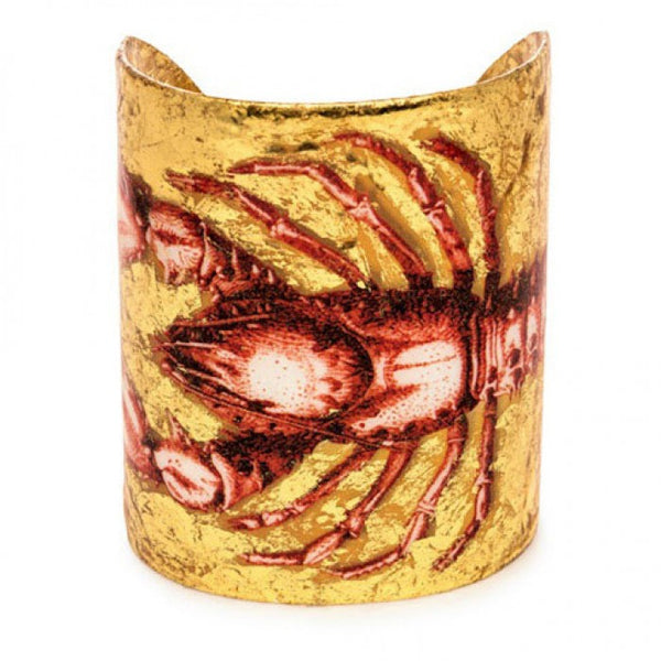 Beautiful Evocateur gold leaf cuff, featuring a red lobster, found at Patricia in Southern Pines, NC