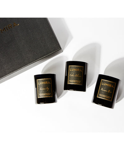 Lumira Mini Destination Candles Gift Box in Cuban Tobacco, Persian Rose, & Tuscan Fig
