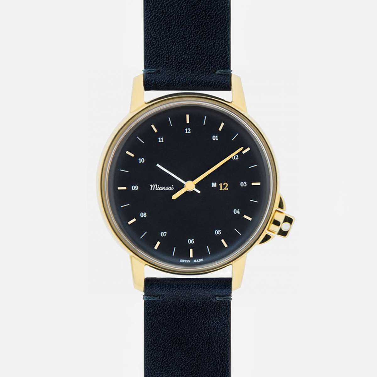 Miansai M12 Swiss Navy/Gold Watch on Vintage Leather Strap
