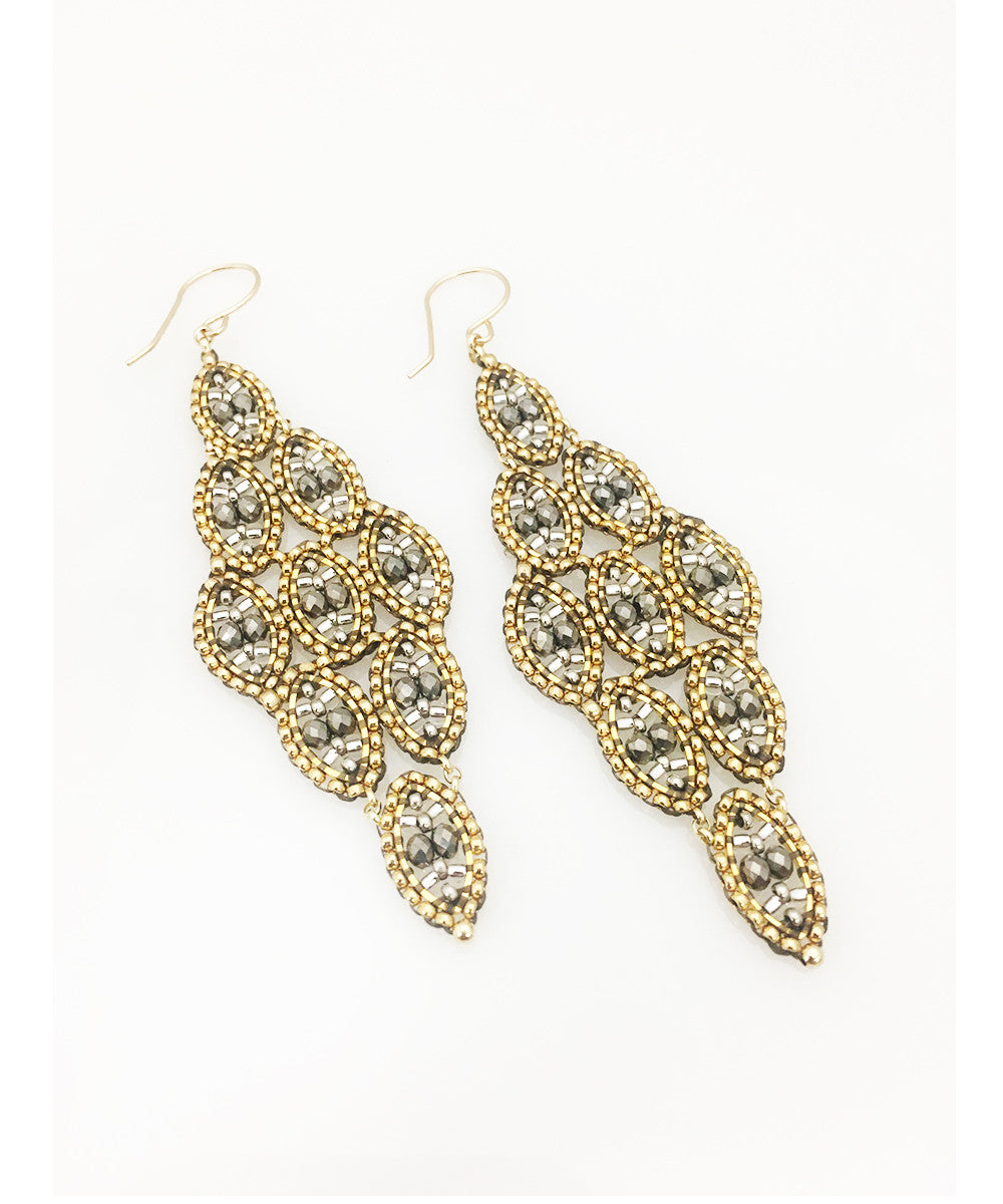 Miguel Ases Pyrite and Miyuki Seed Bead Earring