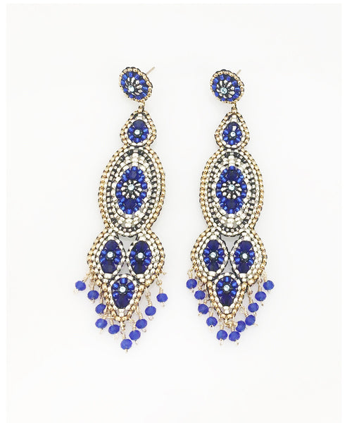 Miguel Ases Tanzanite, Silver and Gold Earring