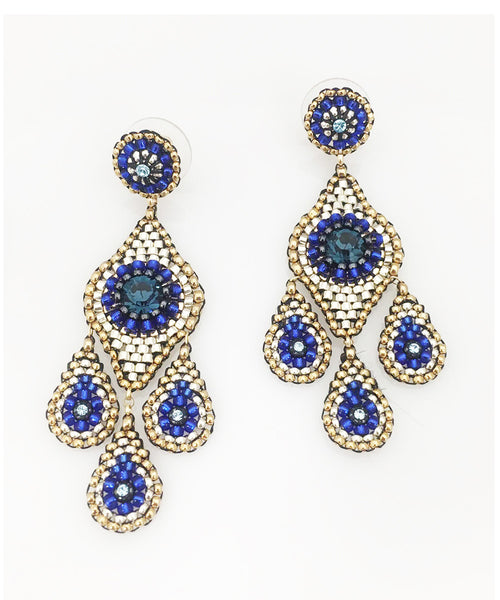 Miguel Ases Swarovski, Silver and Miyuki Seed Bead Earring