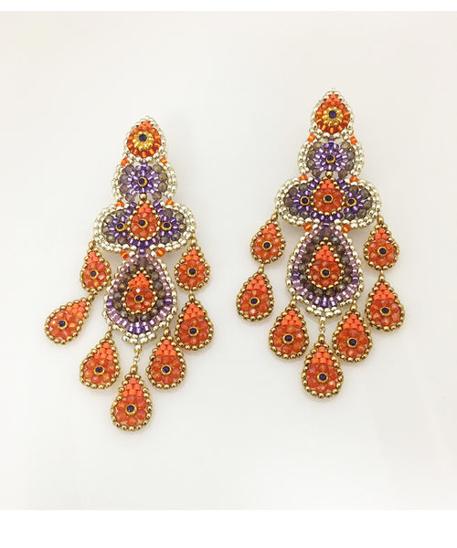 Miguel Ases Swarovski, Amethyst and Fire Opal Earring