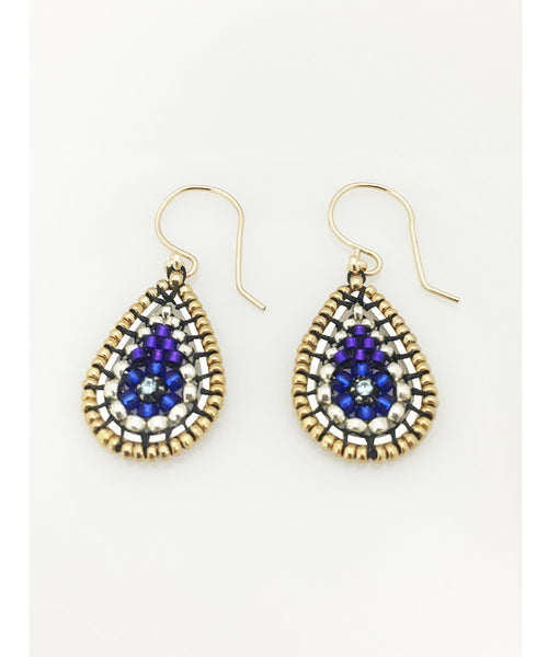 Miguel Ases Swarovski and Purple and Silver Miyuki Seed Bead Earring