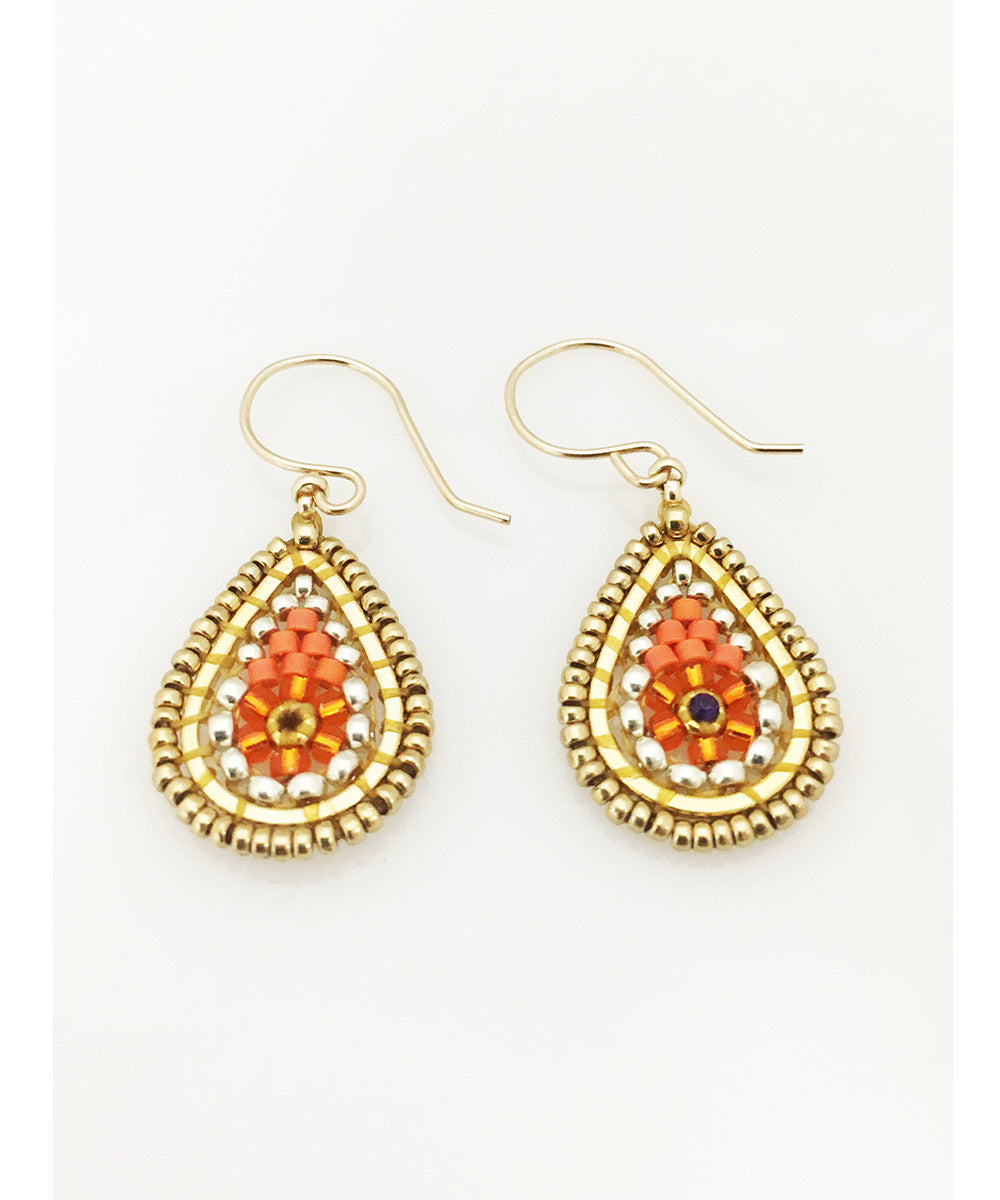Miguel Ases Swarovski and Orange and Silver Miyuki Seed Bead Earring