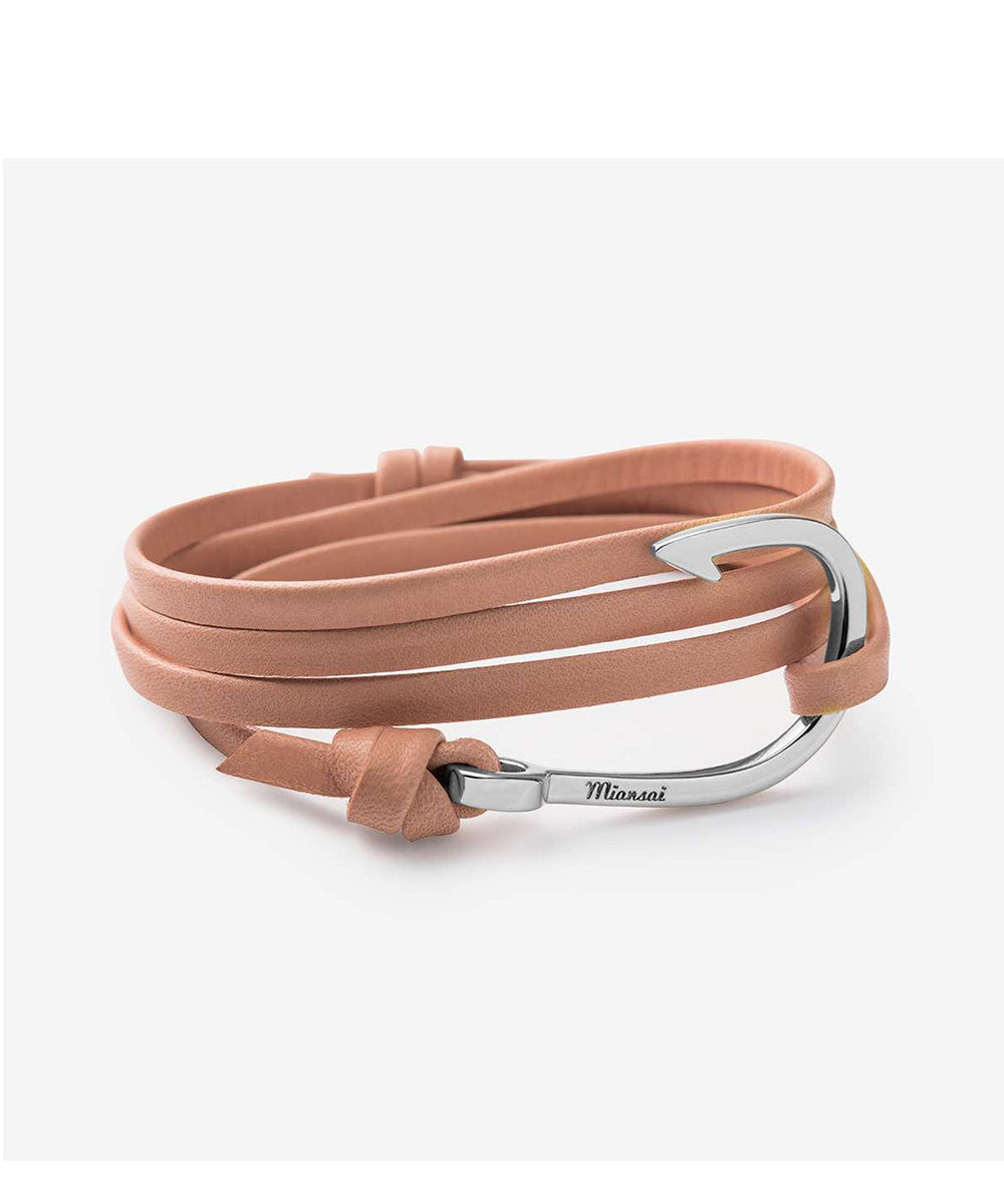 Miansai Hook on Leather Bracelet Silver Plated, Salmon