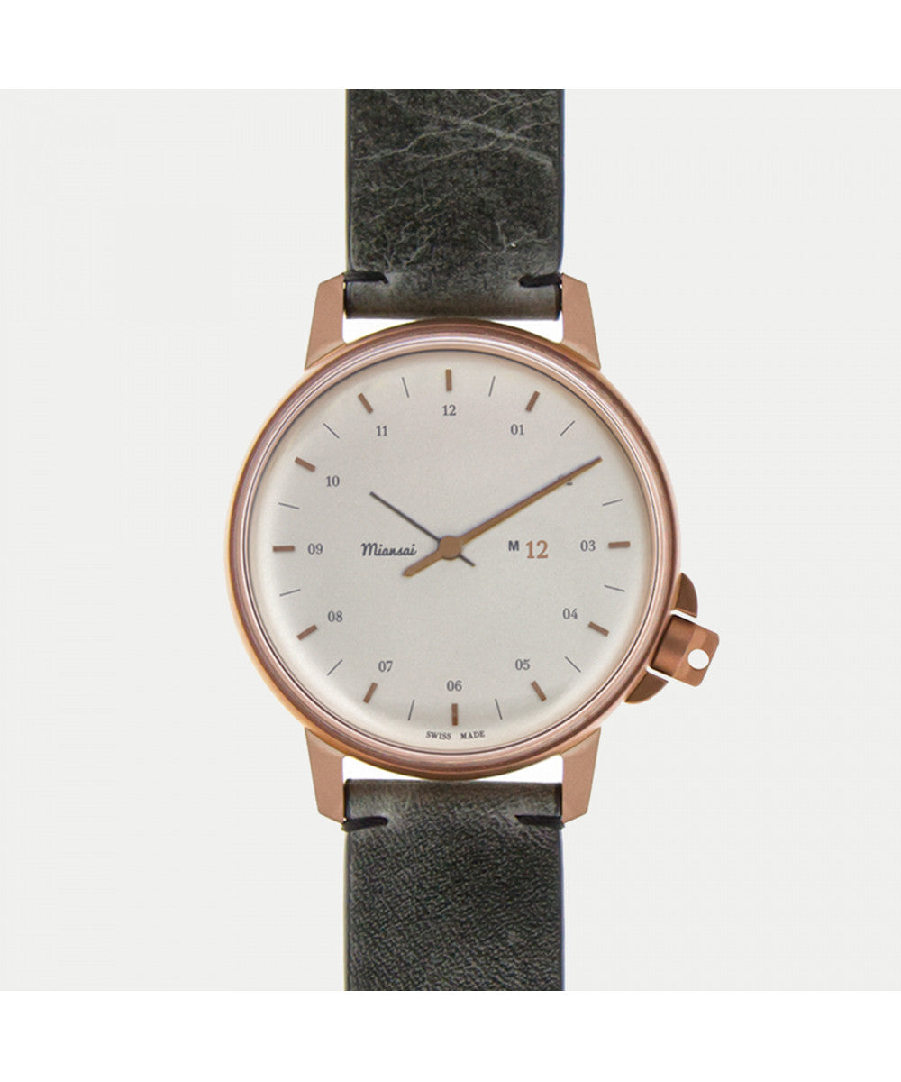 Miansai M12 Bronze/Silver on Vintage Gray Two-Piece Leather Strap