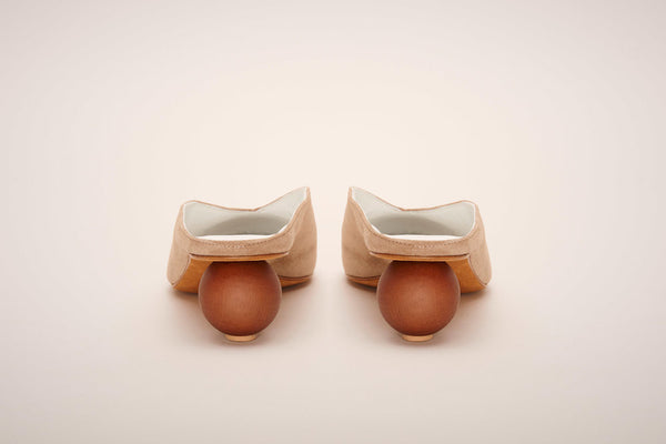 Gray Matters Mildred Egg in Taupe. Suede slide with egg shaped wooden heel.