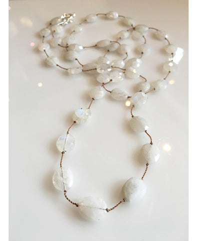 Margo Morrison Faceted Rainbow Moonstone Necklace