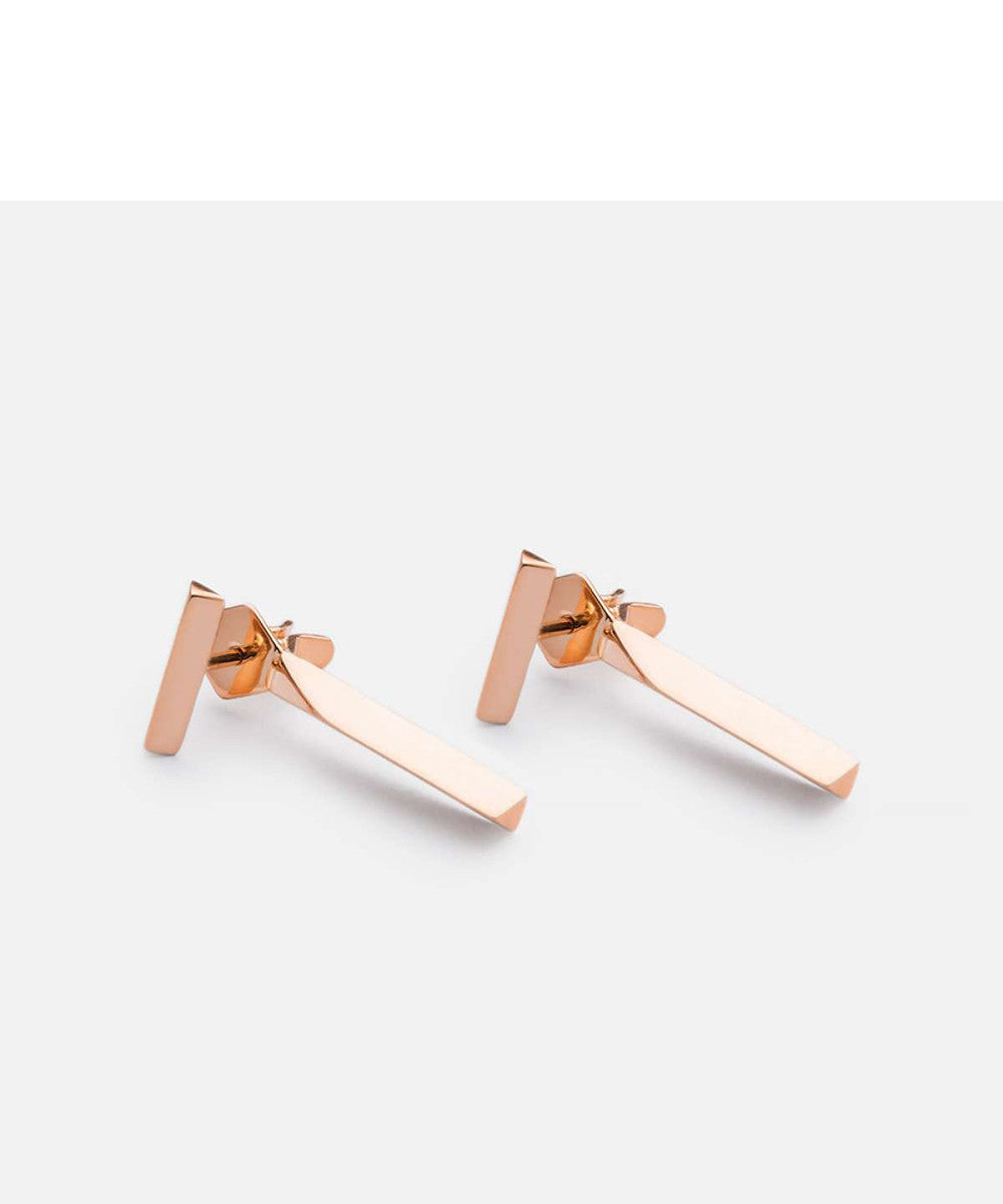 Miansai T Bar Stud Earring, Rose Gold