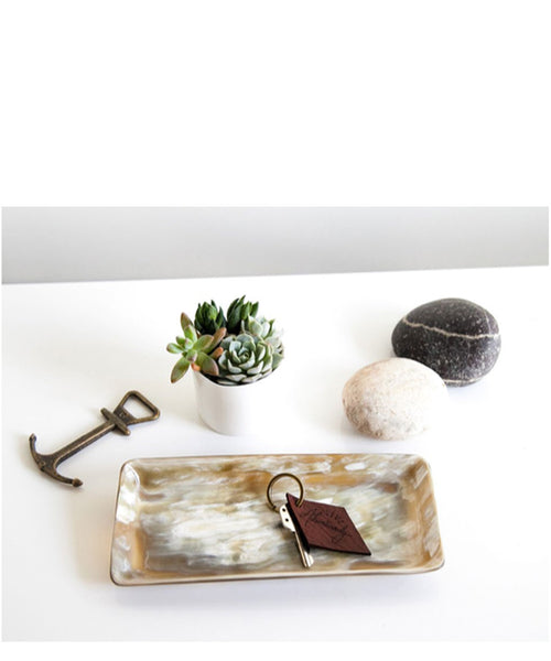 Rose and Fitzgerald Ankole Horn Heirloom Tray- Dark