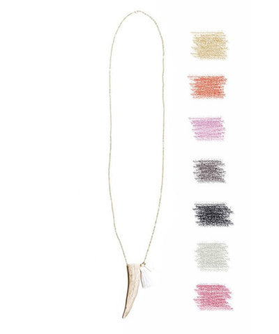 Tess + Tricia Classic Unembellished Antler Tip Necklace with Tassel
