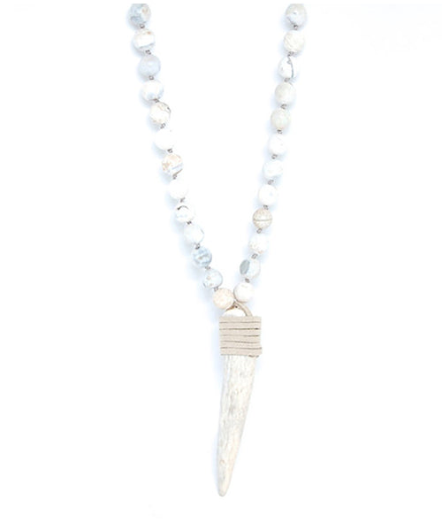 T. Marie Hand knotted White Agate and Antler Necklace