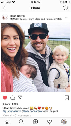 Jillian Harris and Family wearing a Beluga Baby wrap/sling