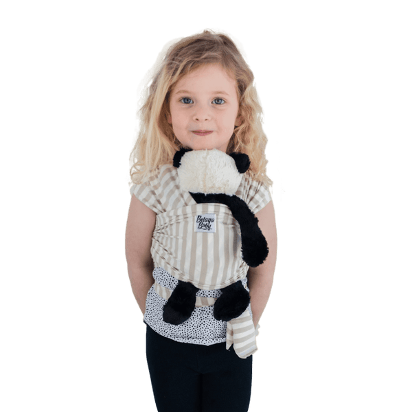 """Bondi"" - Sand & Ivory Stripe Mini Beluga - Children's Doll Carrier - Beluga Baby Store"