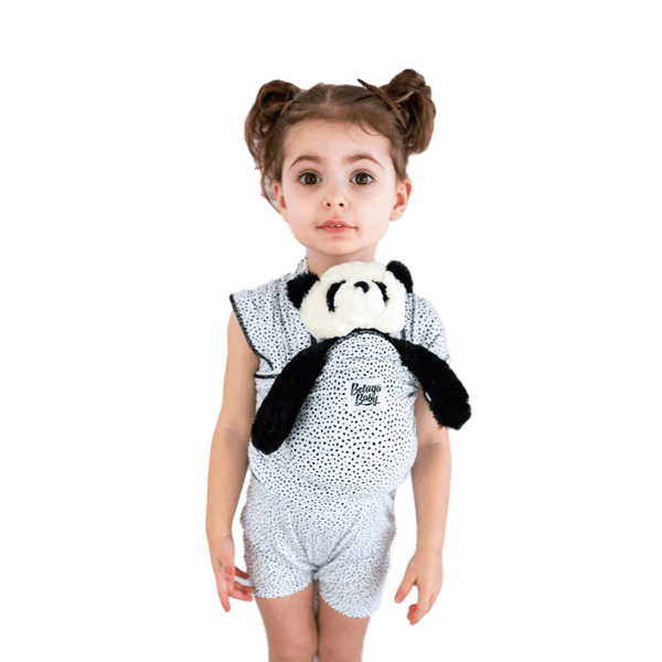 """Portland Pebble"" - Black & White Dots Mini Beluga - Children's Doll Carrier - Beluga Baby Store"