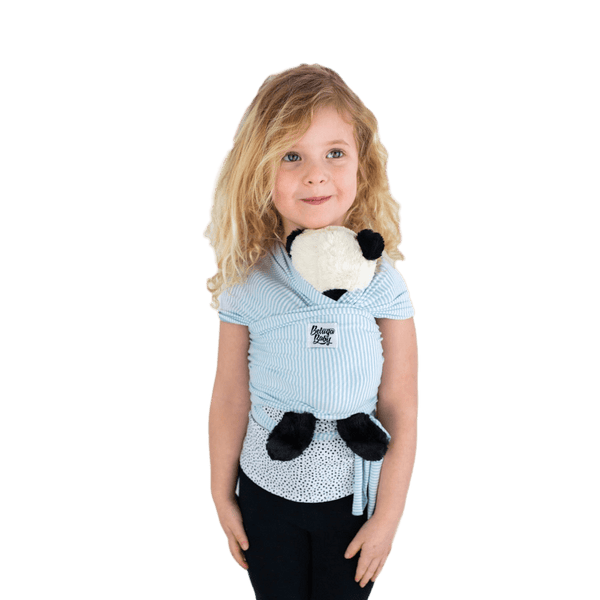 """Santorini"" - Blue & Ivory Stripe Mini Beluga - Children's Doll Carrier - Beluga Baby Store"