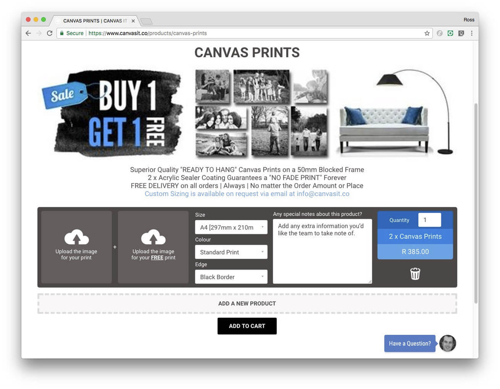 CanvasIt Custom Product Page