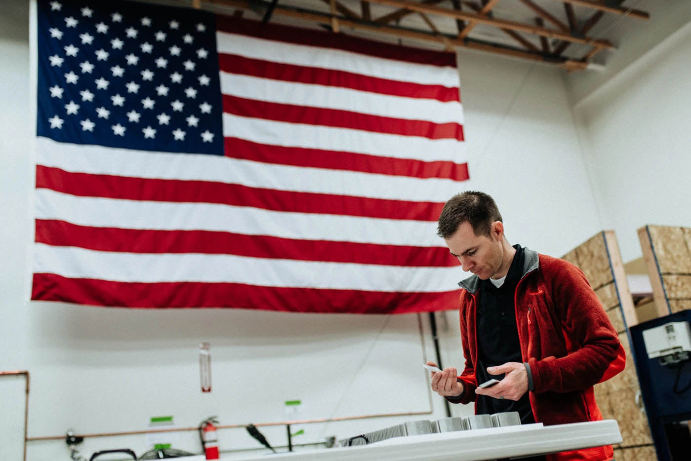BJ Minson, founder of Grip6 inspecting his product made in USA