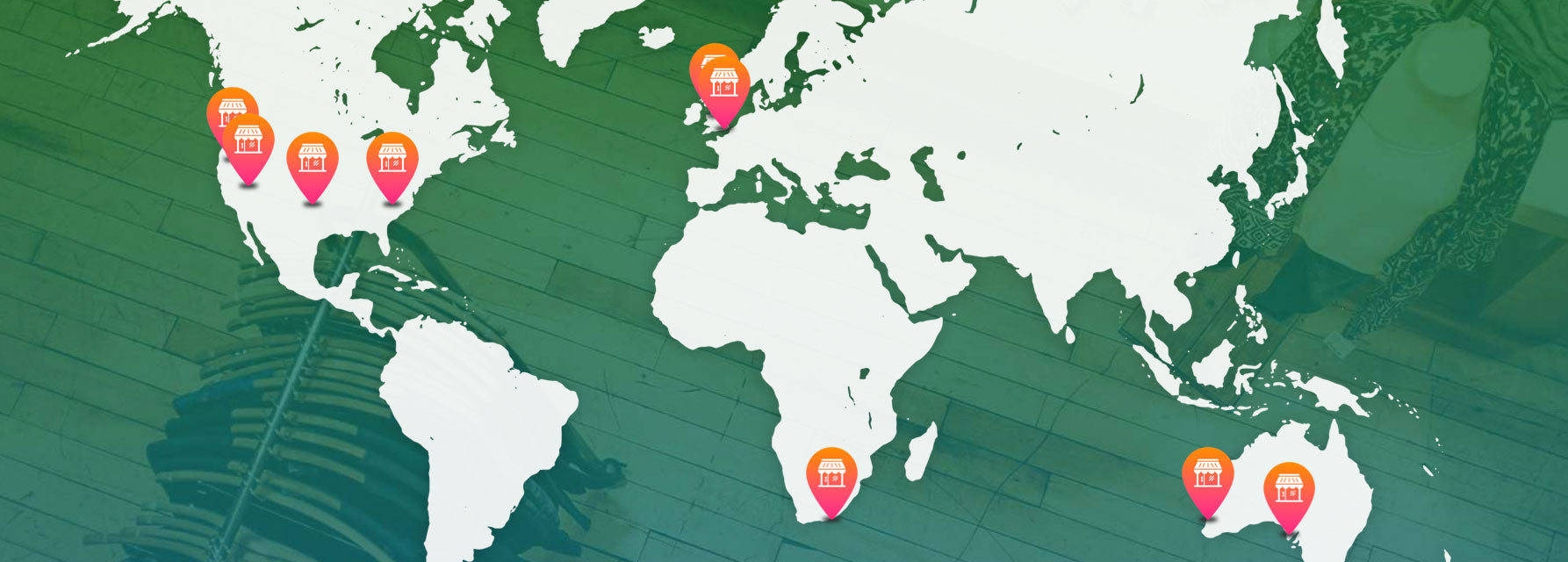 ShopCreatify Core Clients on a map