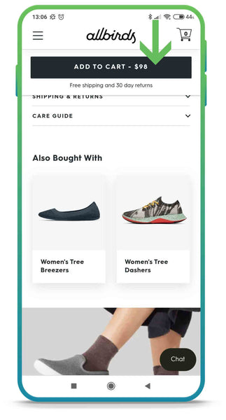 Sticky add to cart button ecommerce mobile