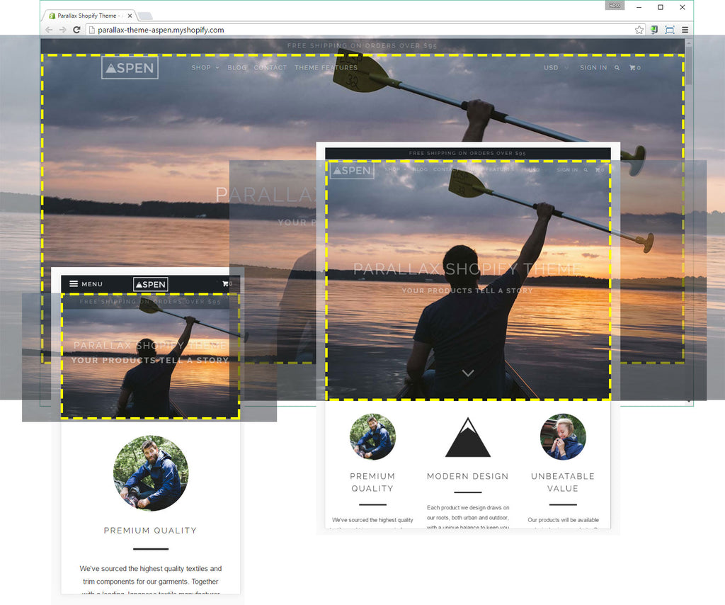 Screenshots of the super imposed banner images on the Parallax theme by Out of the Sandbox for Shopify.