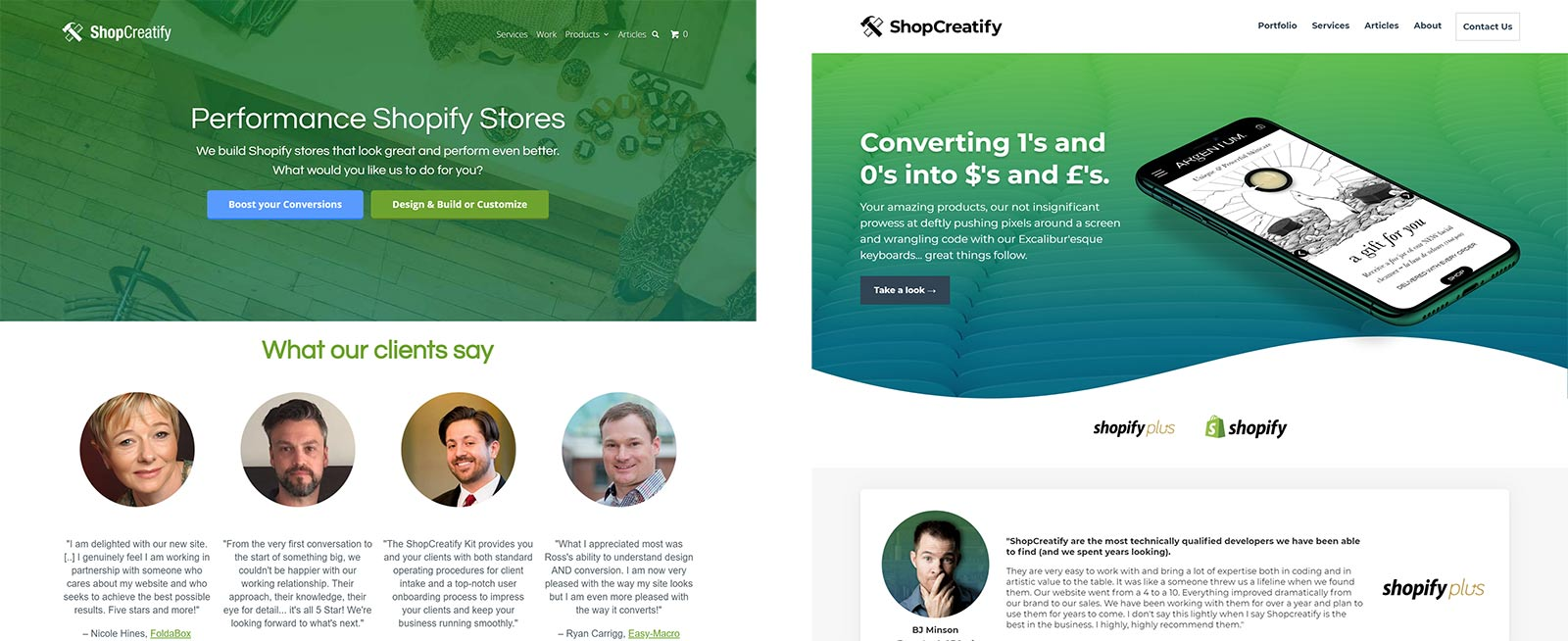 ShopCreatify Agency Site Redesign