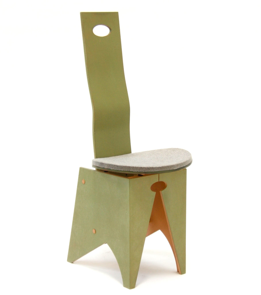 CymÅ ChÅir painted green with gray felt seat, front