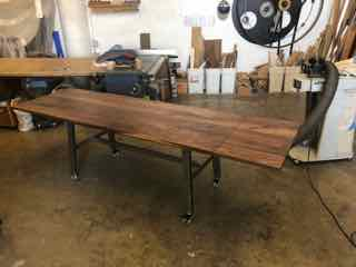 Walnut and Steel Dining Table